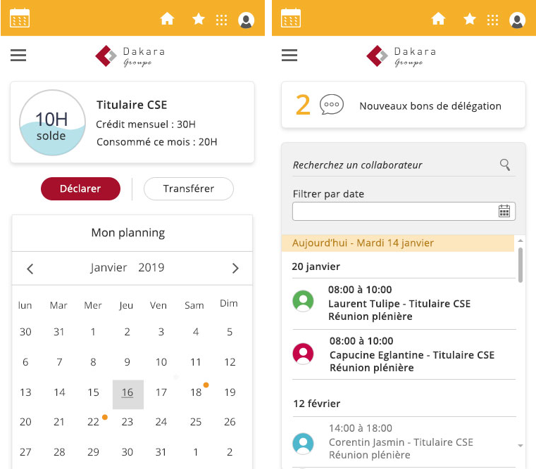 Ecrans mobile Logiciel Heures de délégation Altays