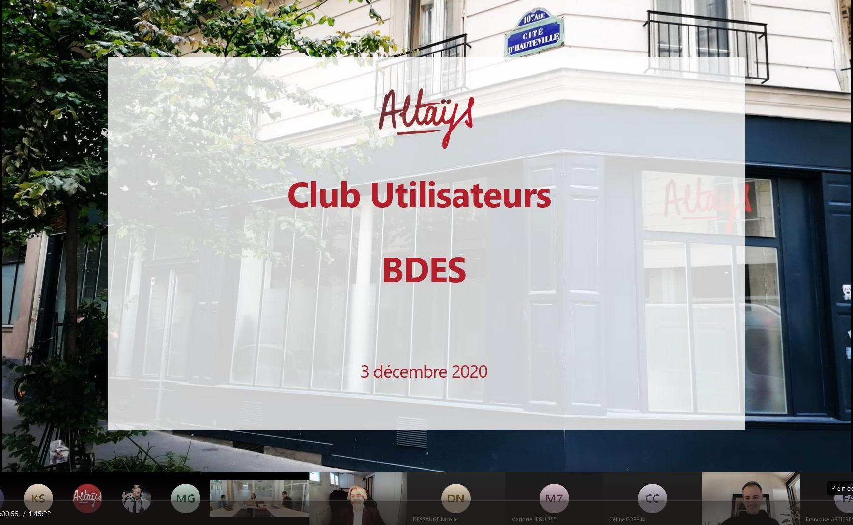 Altays Club jutilisateurs BDES