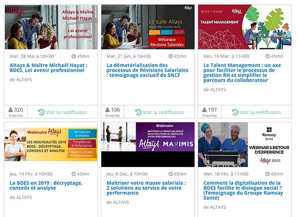 Les replays des webinaires Altays sur Webikeo